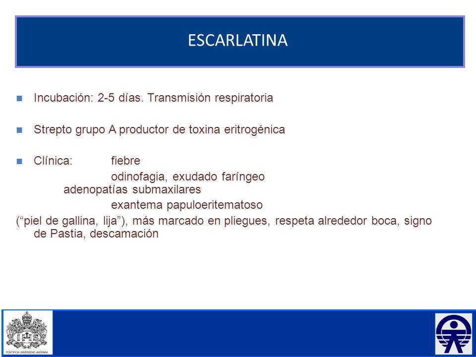 ESCARLATINA Incubación: 2-5 días. Transmisión respiratoria