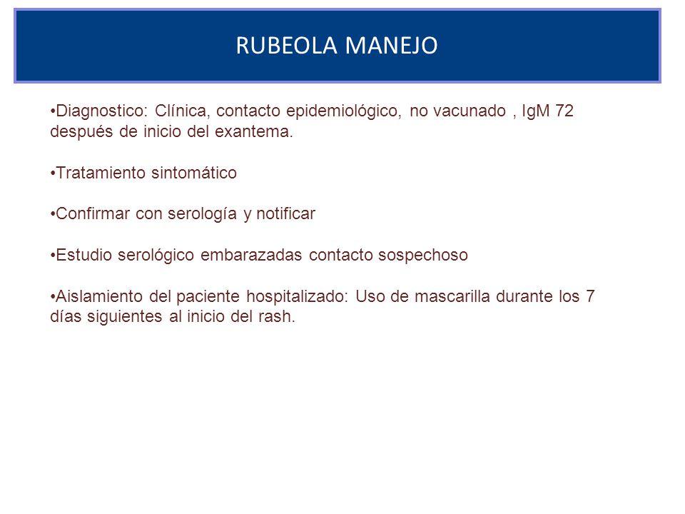 RUBEOLA MANEJO Diagnostico: Clínica, contacto epidemiológico, no vacunado , IgM 72 después de inicio del exantema.