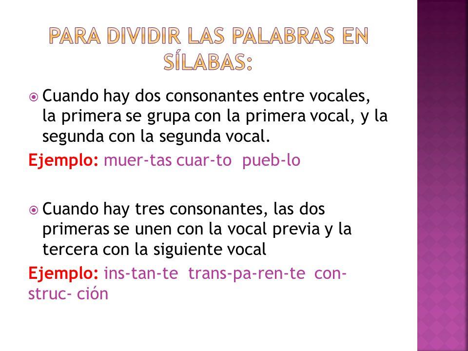 Para dividir las palabras en sílabas: