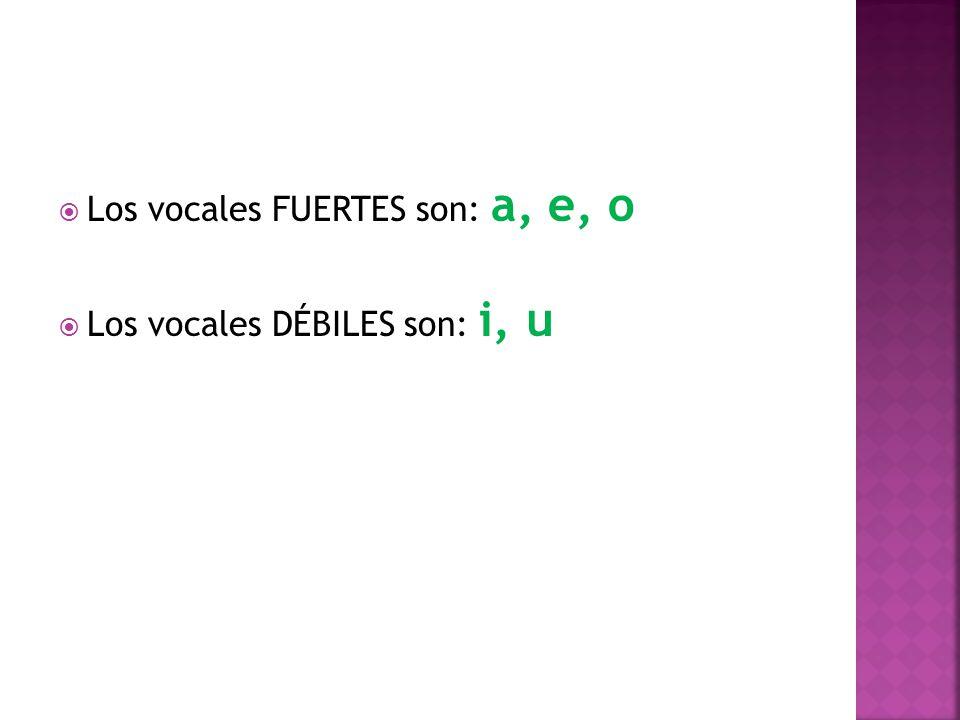 Los vocales FUERTES son: a, e, o