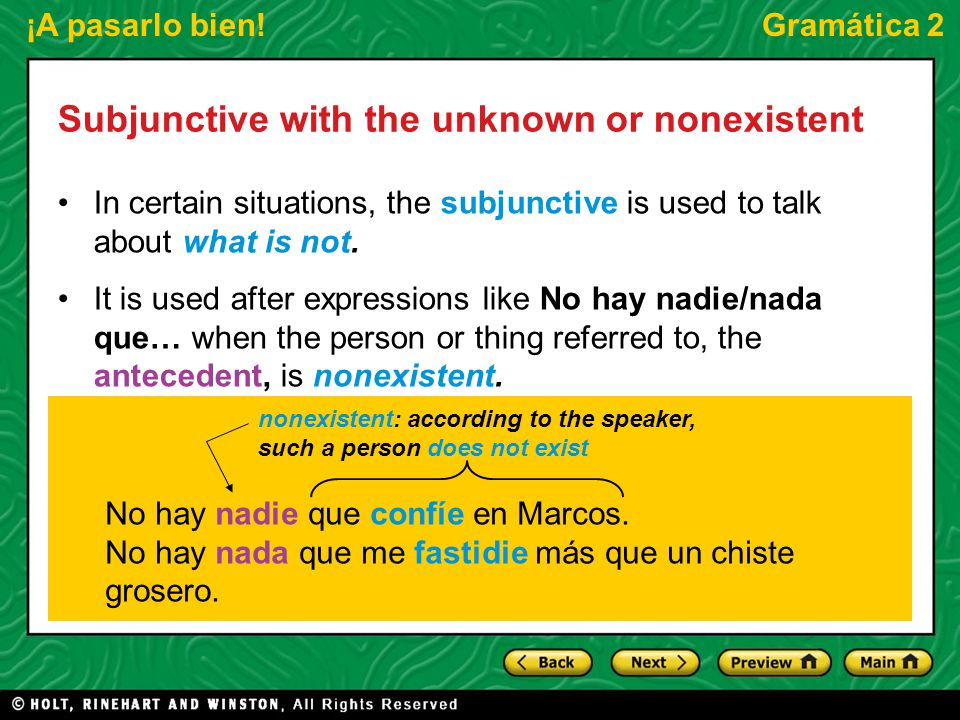Subjunctive with the unknown or nonexistent