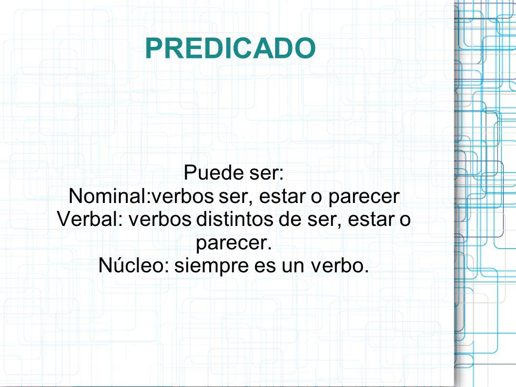 PREDICADO Puede ser: Nominal:verbos ser, estar o parecer