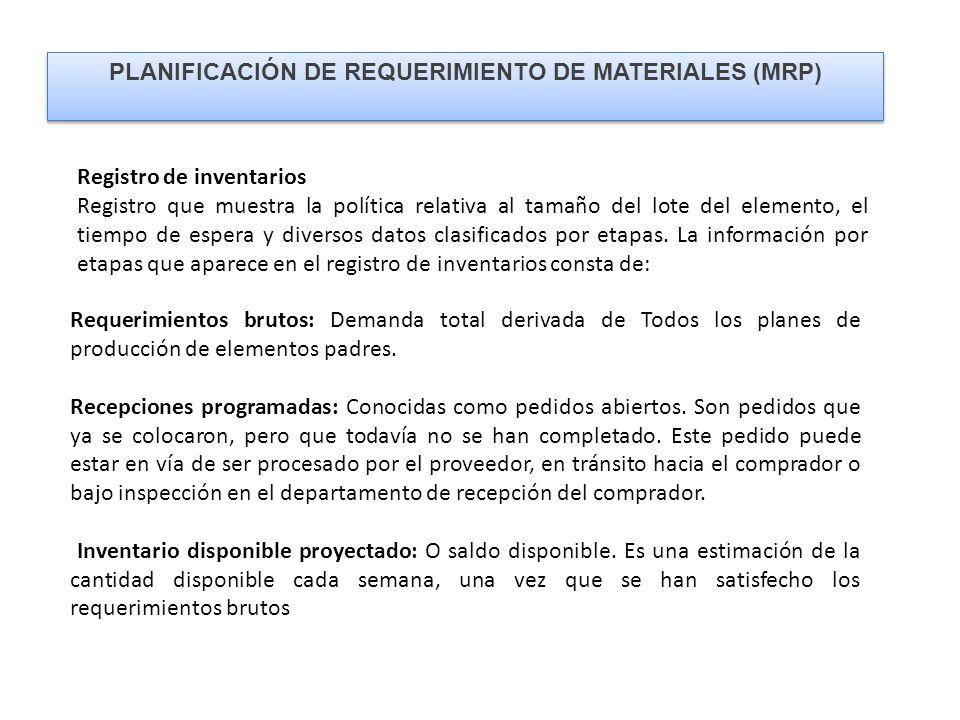 PLANIFICACIÓN DE REQUERIMIENTO DE MATERIALES (MRP)