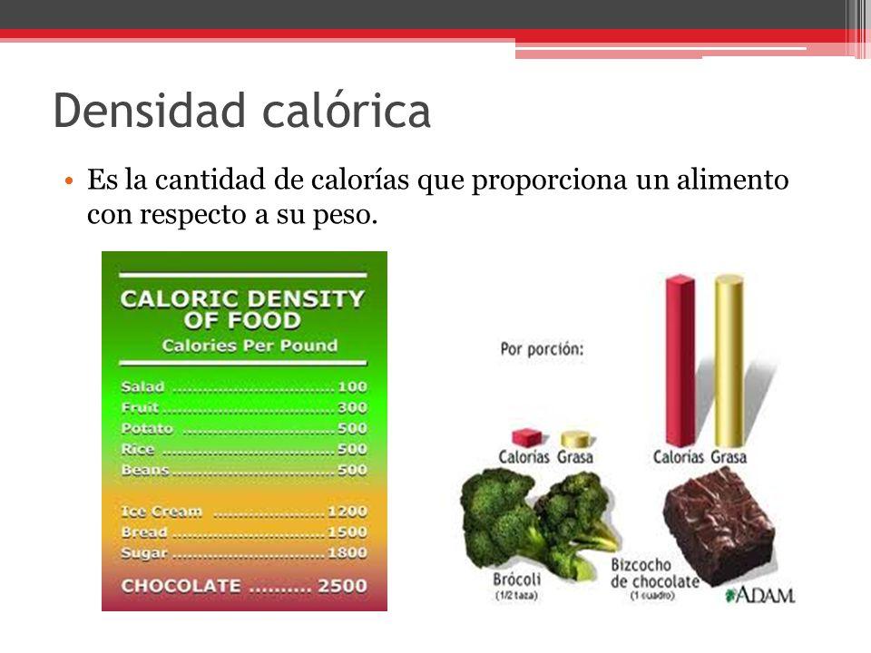 Densidad calórica Es la cantidad de calorías que proporciona un alimento con respecto a su peso.
