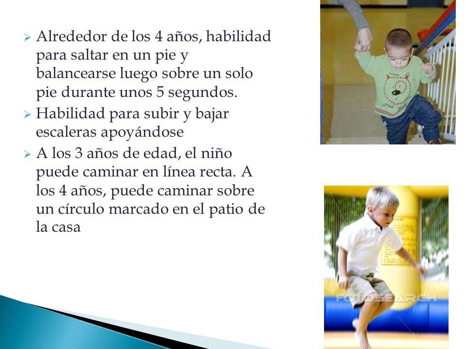 Alrededor de los 4 años, habilidad para saltar en un pie y balancearse luego sobre un solo pie durante unos 5 segundos.