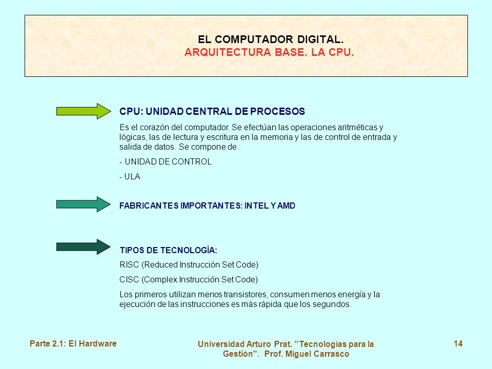 EL COMPUTADOR DIGITAL. ARQUITECTURA BASE. LA CPU.
