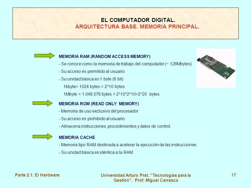 EL COMPUTADOR DIGITAL. ARQUITECTURA BASE. MEMORIA PRINCIPAL.