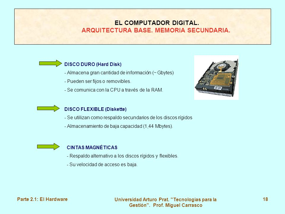 EL COMPUTADOR DIGITAL. ARQUITECTURA BASE. MEMORIA SECUNDARIA.