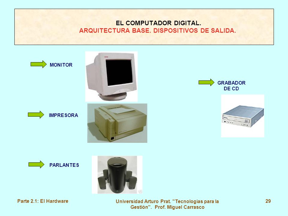 EL COMPUTADOR DIGITAL. ARQUITECTURA BASE. DISPOSITIVOS DE SALIDA.