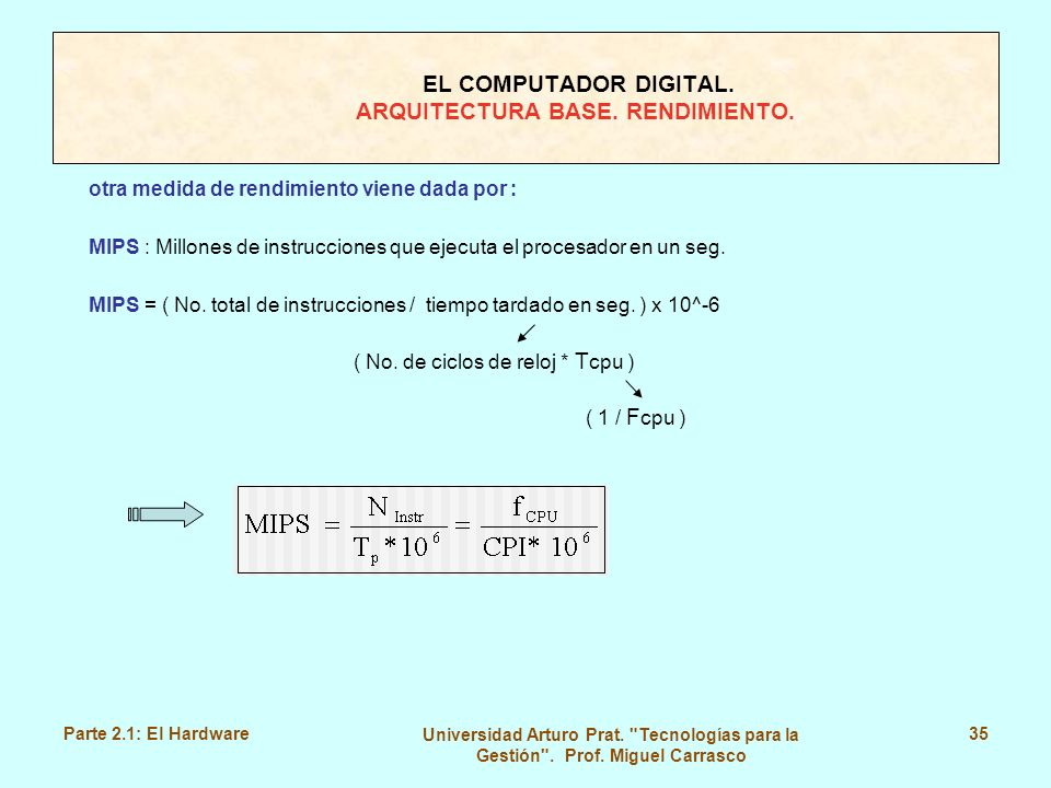 EL COMPUTADOR DIGITAL. ARQUITECTURA BASE. RENDIMIENTO.