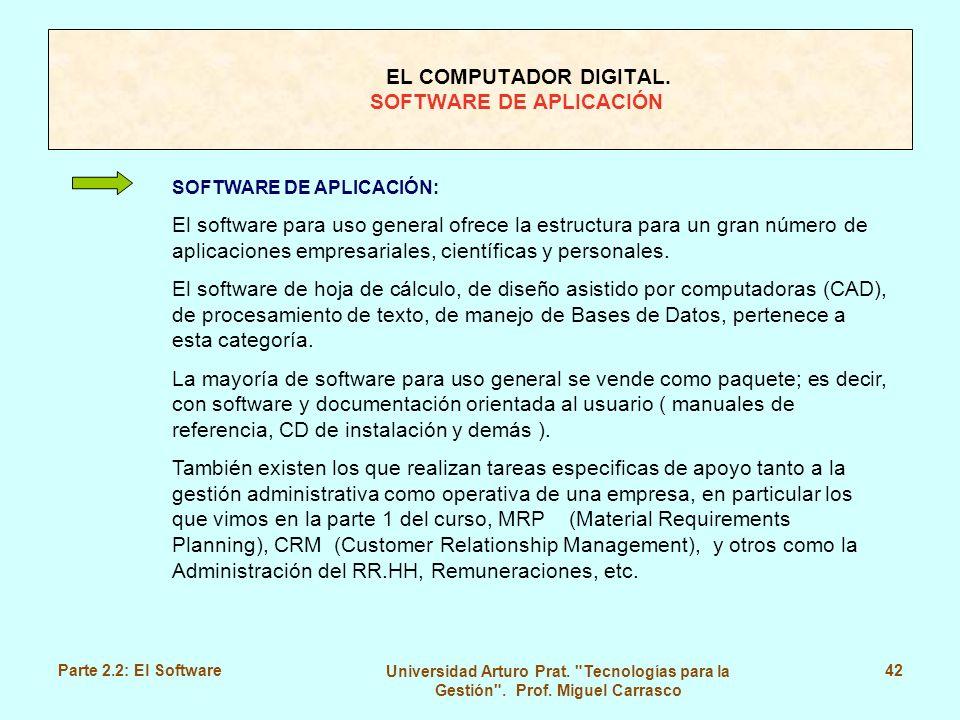 EL COMPUTADOR DIGITAL. SOFTWARE DE APLICACIÓN