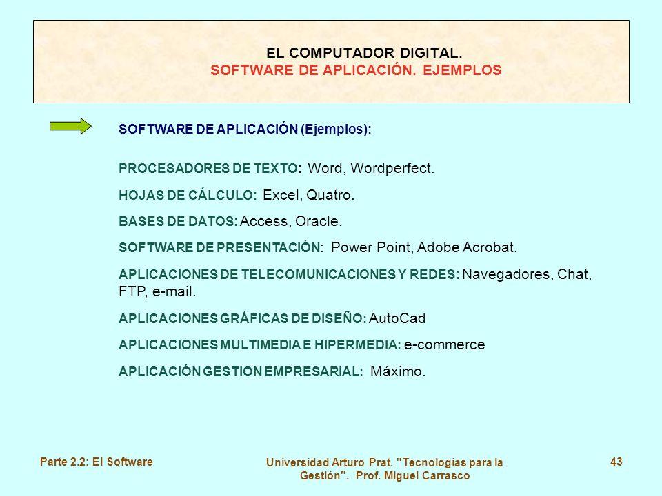 EL COMPUTADOR DIGITAL. SOFTWARE DE APLICACIÓN. EJEMPLOS
