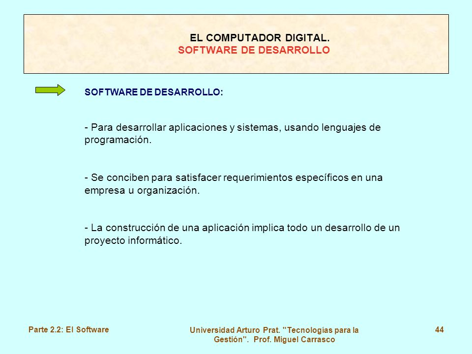 EL COMPUTADOR DIGITAL. SOFTWARE DE DESARROLLO
