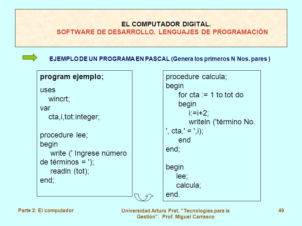 write ( Ingrese número de términos = ); readln (tot); end;