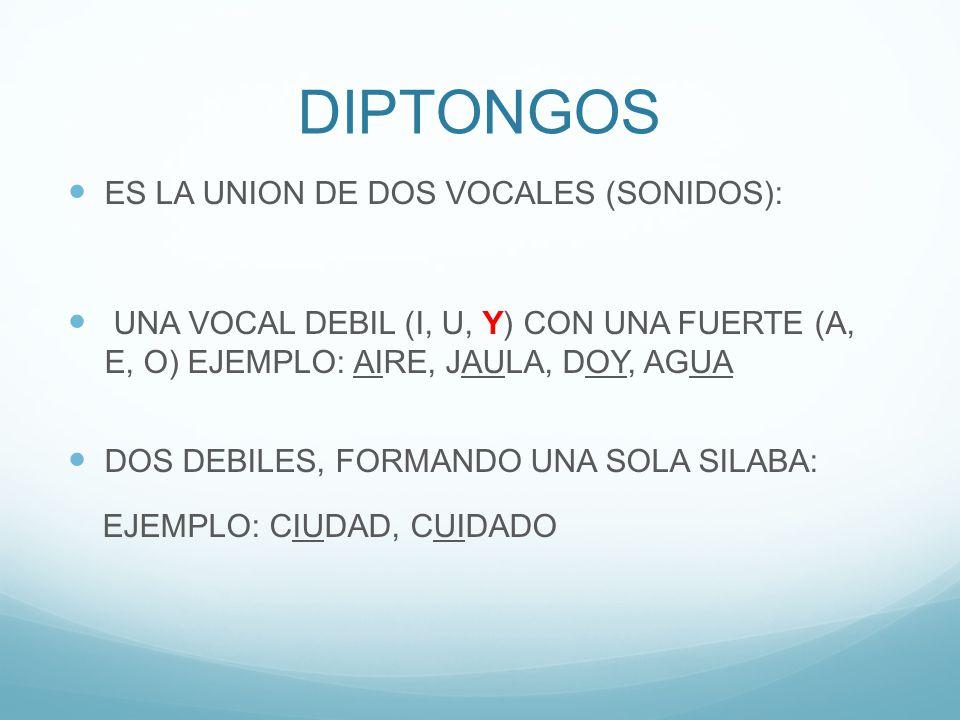 DIPTONGOS ES LA UNION DE DOS VOCALES (SONIDOS):