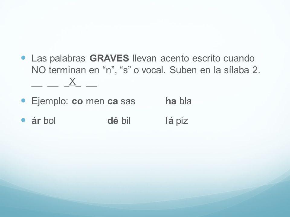 Las palabras GRAVES llevan acento escrito cuando NO terminan en n , s o vocal. Suben en la sílaba 2. __ __ _X_ __