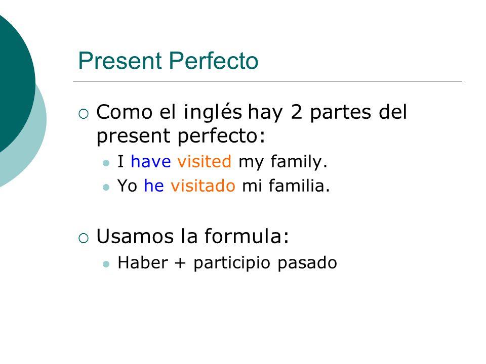 Present Perfecto Como el inglés hay 2 partes del present perfecto: