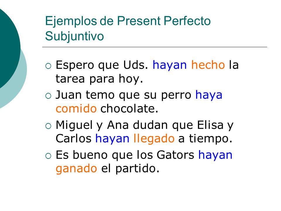 Ejemplos de Present Perfecto Subjuntivo