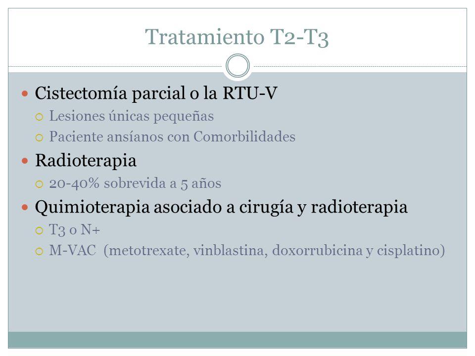 Tratamiento T2-T3 Cistectomía parcial o la RTU-V Radioterapia