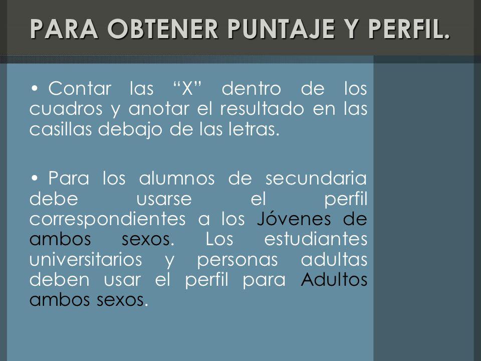 PARA OBTENER PUNTAJE Y PERFIL.