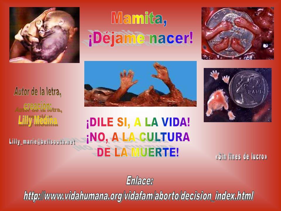 Mamita, ¡Déjame nacer! Autor de la letra, creación: Lilly Medina