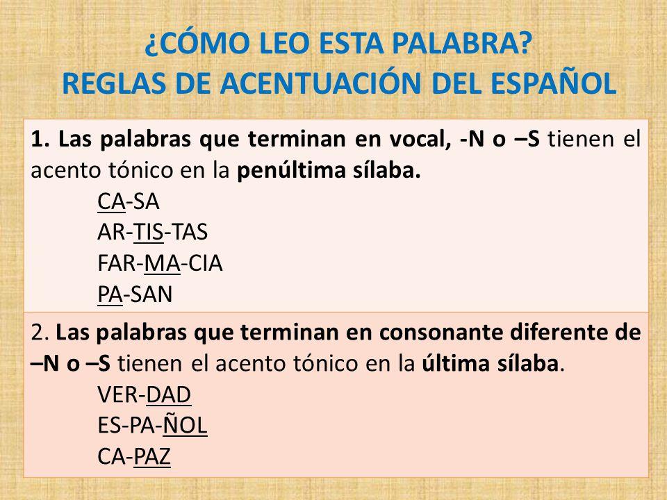 Reglas De Acentuacion En Espanol 191 C 211 Mo Leo Esta