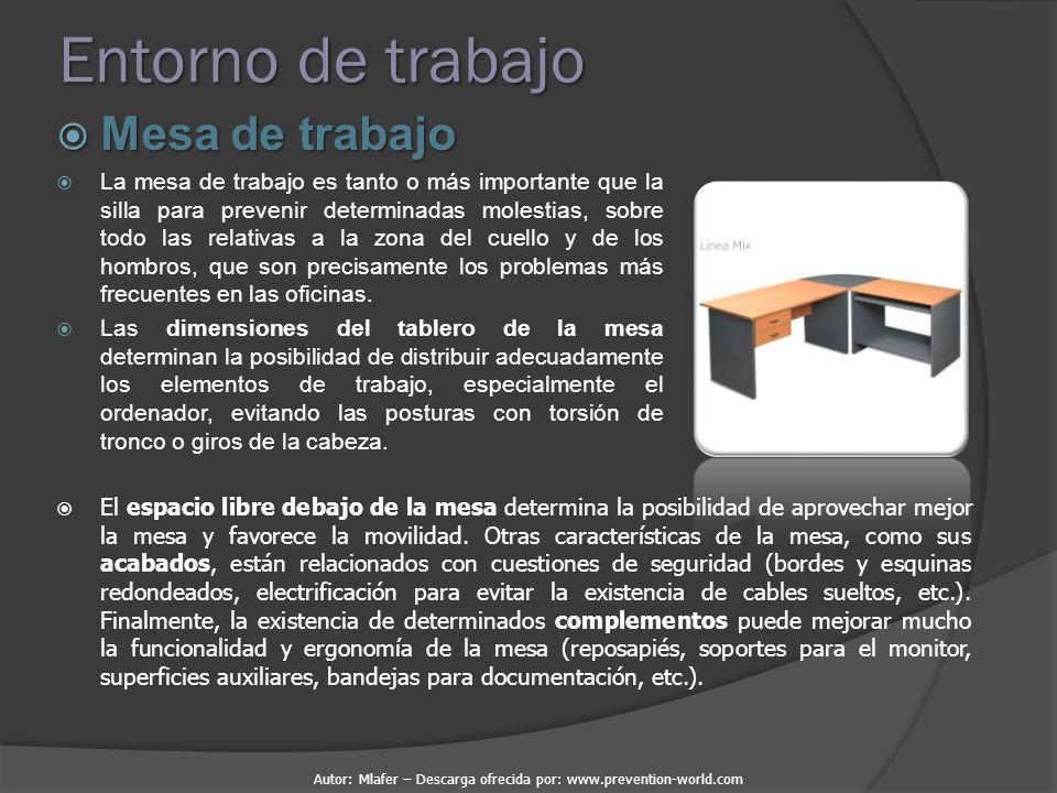 Entorno de trabajo Mesa de trabajo