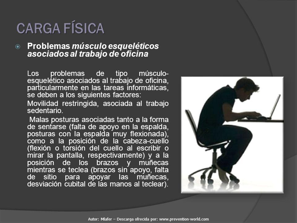 CARGA FÍSICA Problemas músculo esqueléticos asociados al trabajo de oficina.