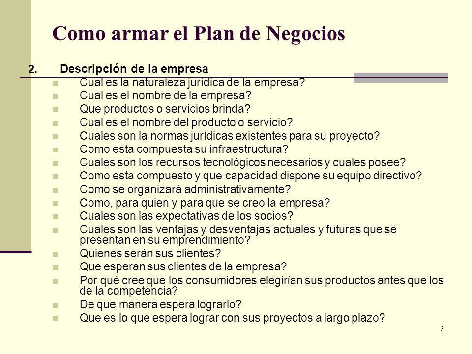 Como armar el Plan de Negocios