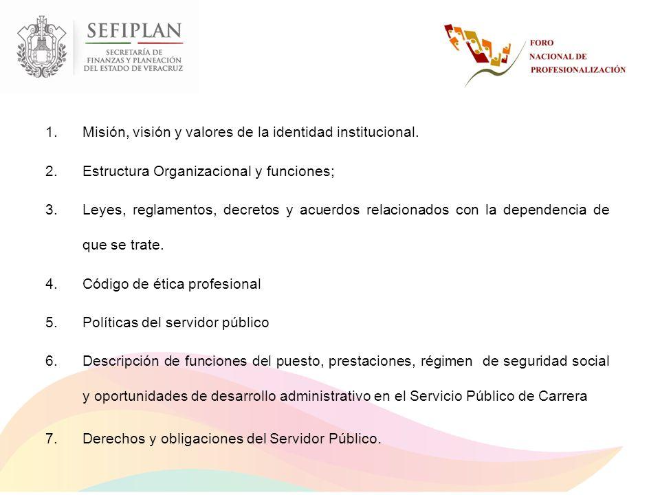 Misión, visión y valores de la identidad institucional.