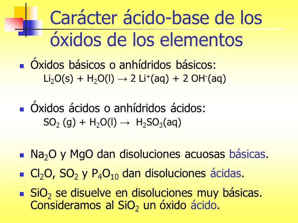 carcter cido base de los xidos de los elementos - Tabla Periodica De Los Elementos H2o