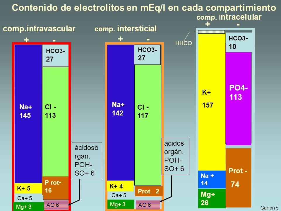 Contenido de electrolitos en mEq/l en cada compartimiento