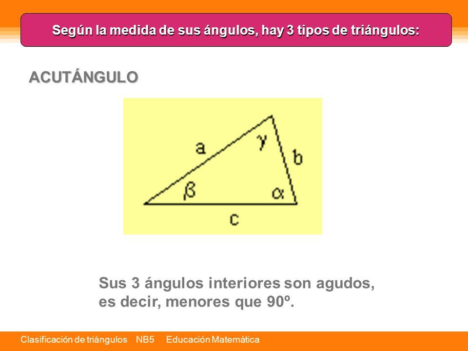 Según la medida de sus ángulos, hay 3 tipos de triángulos: