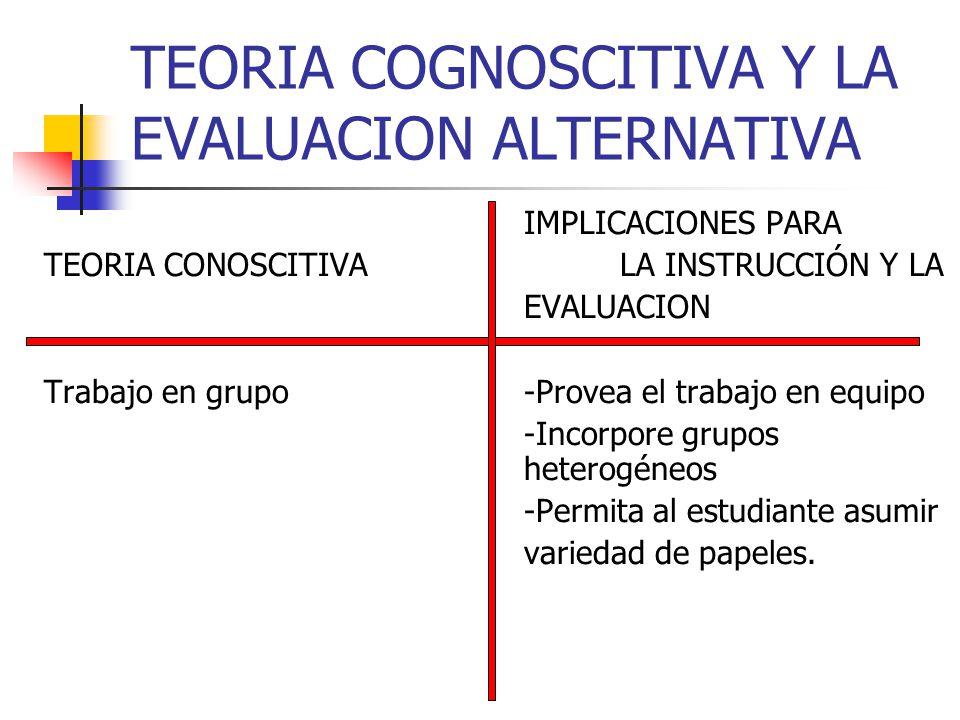 TEORIA COGNOSCITIVA Y LA EVALUACION ALTERNATIVA