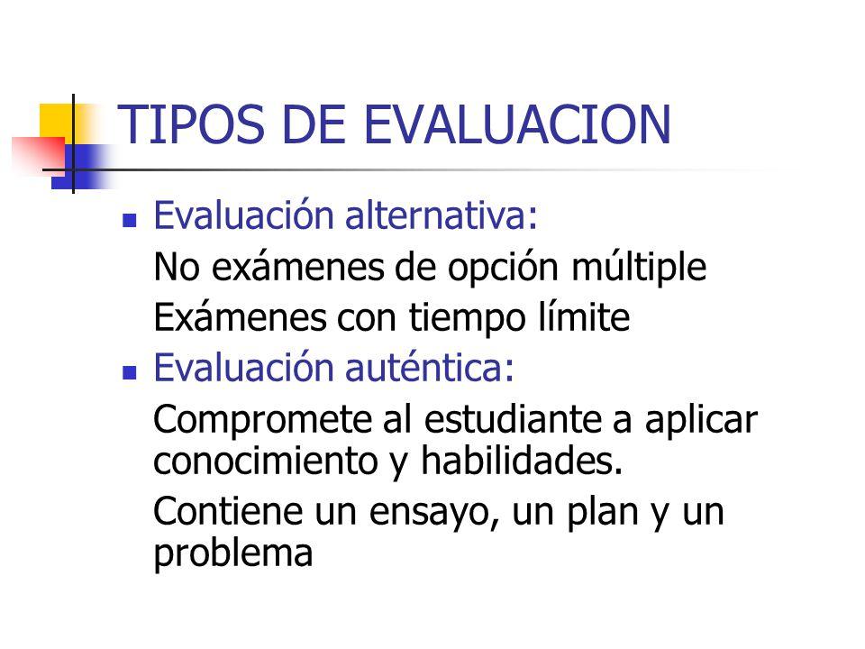 TIPOS DE EVALUACION Evaluación alternativa: