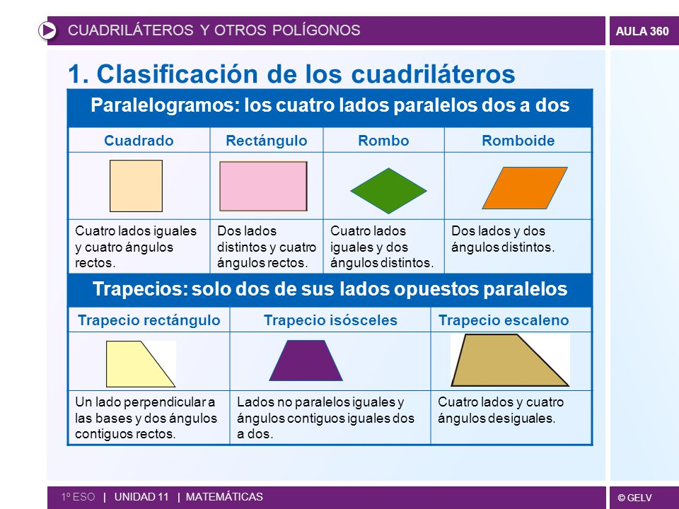 1. Clasificación de los cuadriláteros