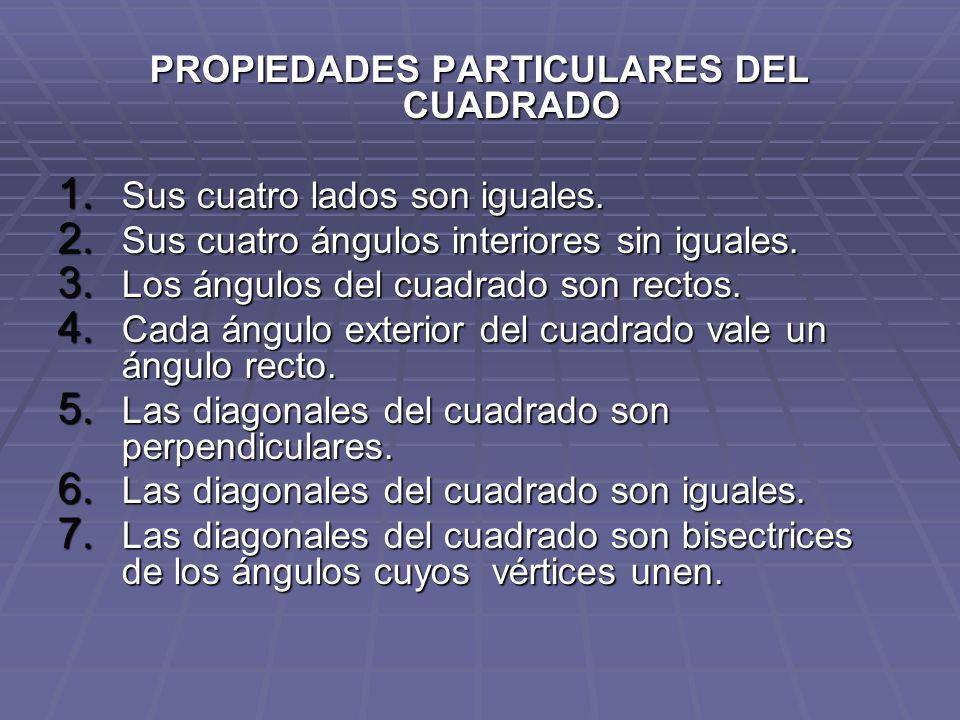 PROPIEDADES PARTICULARES DEL CUADRADO