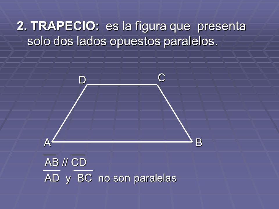 2. TRAPECIO: es la figura que presenta solo dos lados opuestos paralelos.