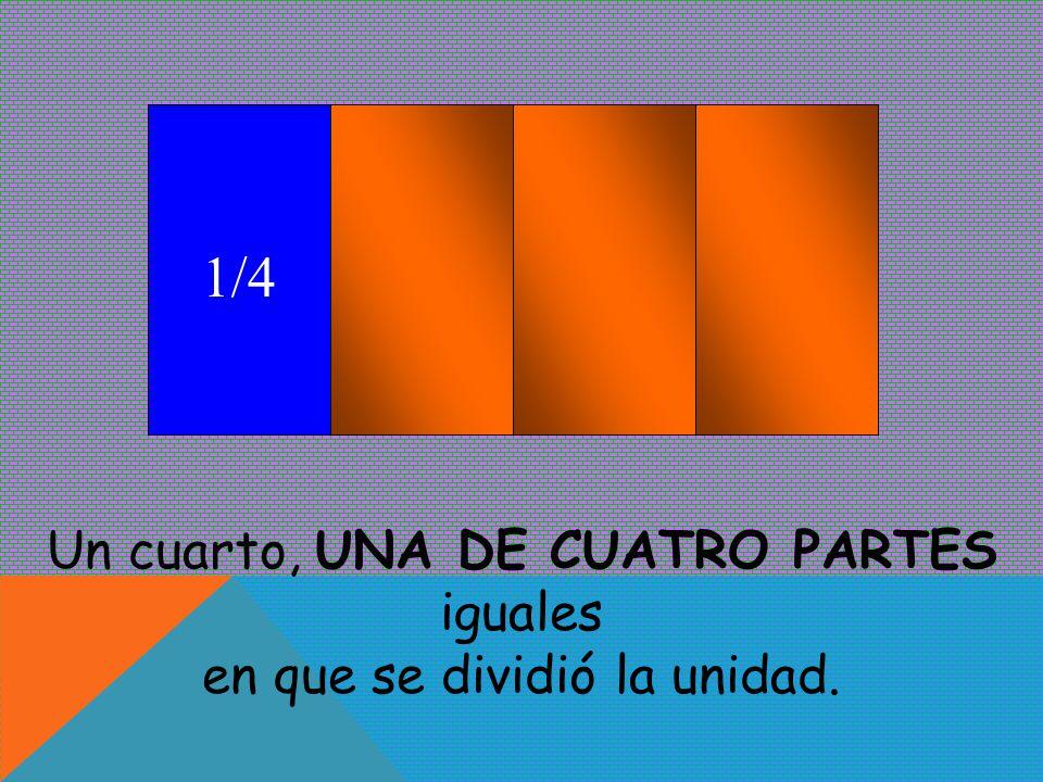 1/4 Un cuarto, UNA DE CUATRO PARTES iguales
