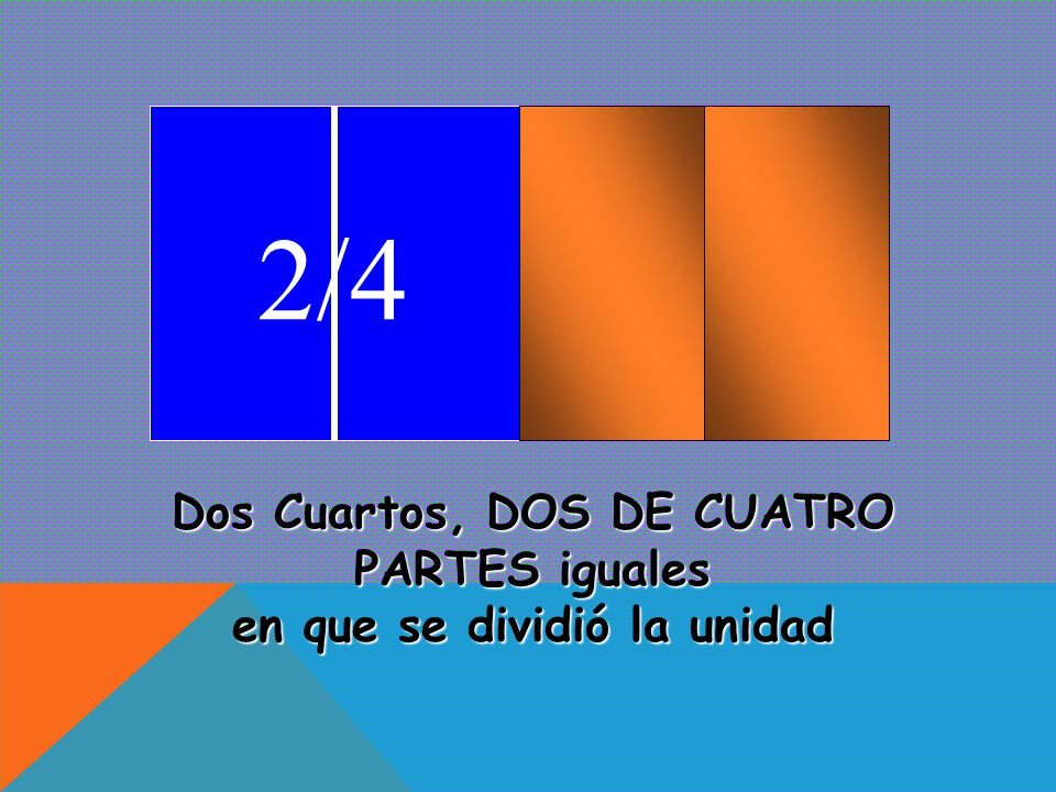 Dos Cuartos, DOS DE CUATRO PARTES iguales en que se dividió la unidad