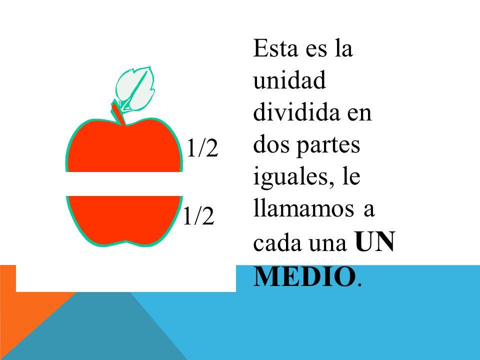 Esta es la unidad dividida en dos partes iguales, le llamamos a cada una UN MEDIO.