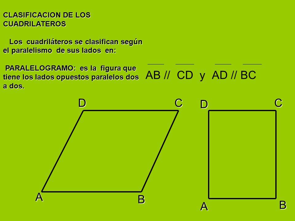 AB // CD y AD // BC D C D C A B A B CLASIFICACION DE LOS CUADRILATEROS