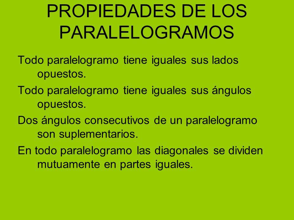 PROPIEDADES DE LOS PARALELOGRAMOS