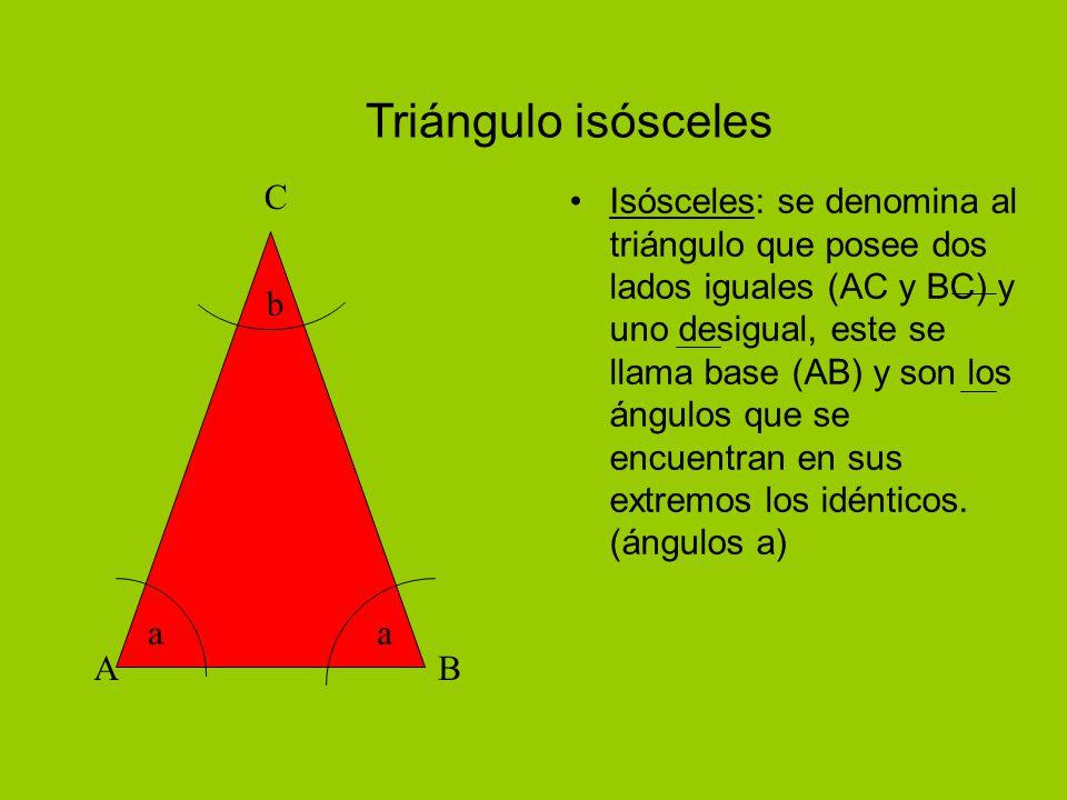Triángulo isósceles A B C a b