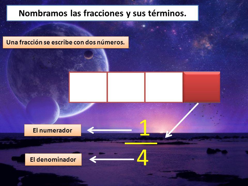 1 4 Nombramos las fracciones y sus términos.