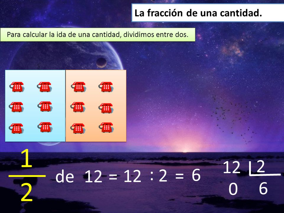 Para calcular la ida de una cantidad, dividimos entre dos.