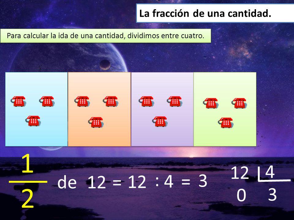 Para calcular la ida de una cantidad, dividimos entre cuatro.