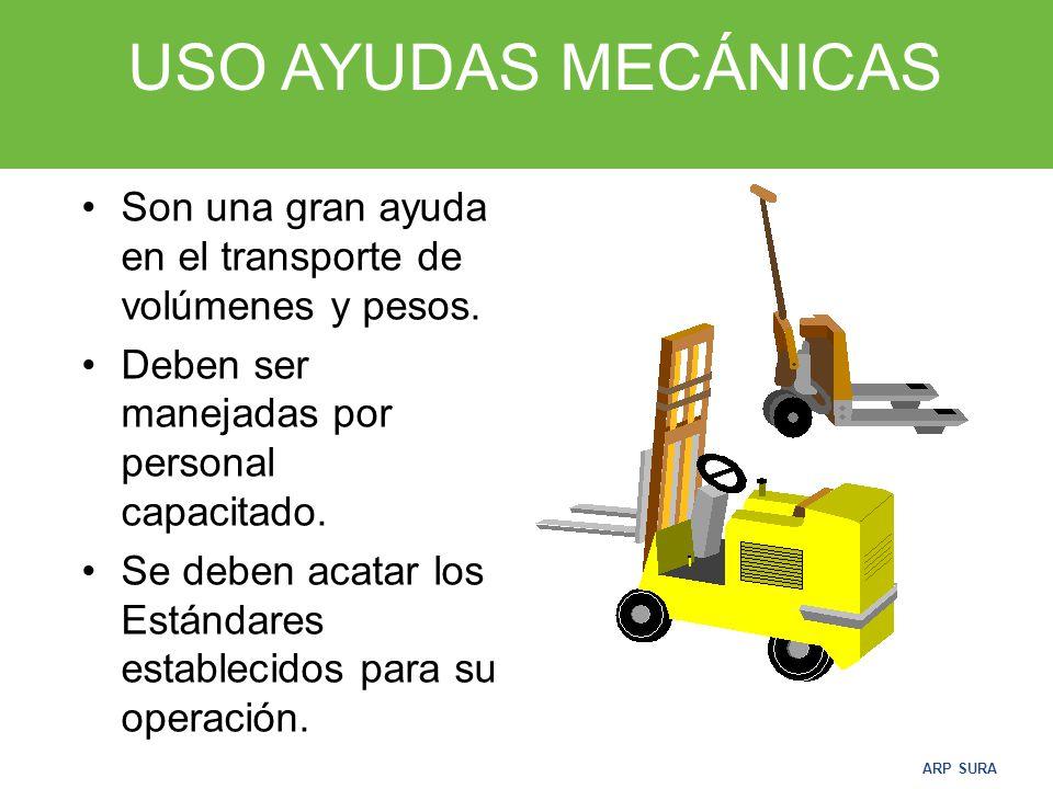 USO AYUDAS MECÁNICAS Son una gran ayuda en el transporte de volúmenes y pesos. Deben ser manejadas por personal capacitado.
