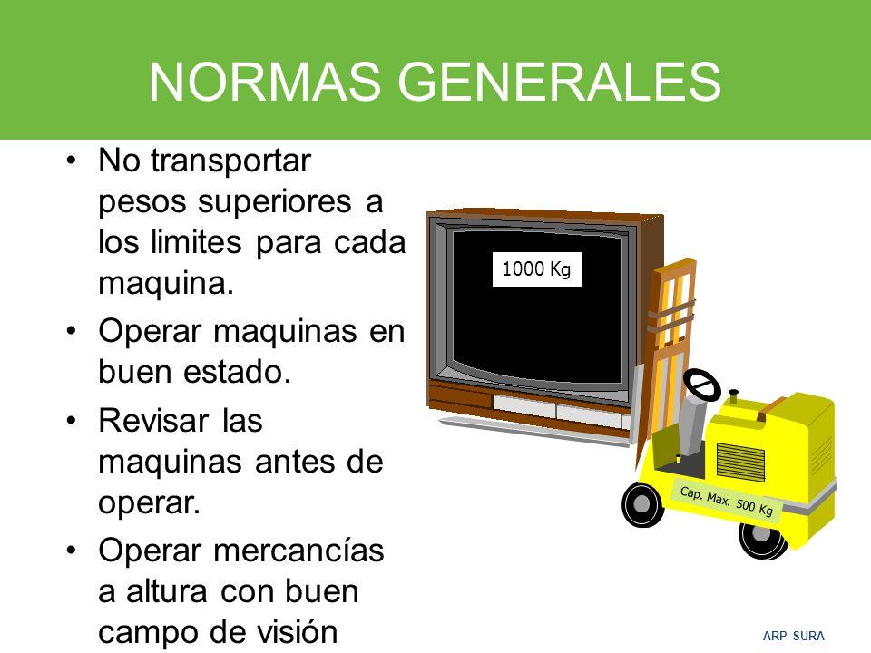 NORMAS GENERALES No transportar pesos superiores a los limites para cada maquina. Operar maquinas en buen estado.