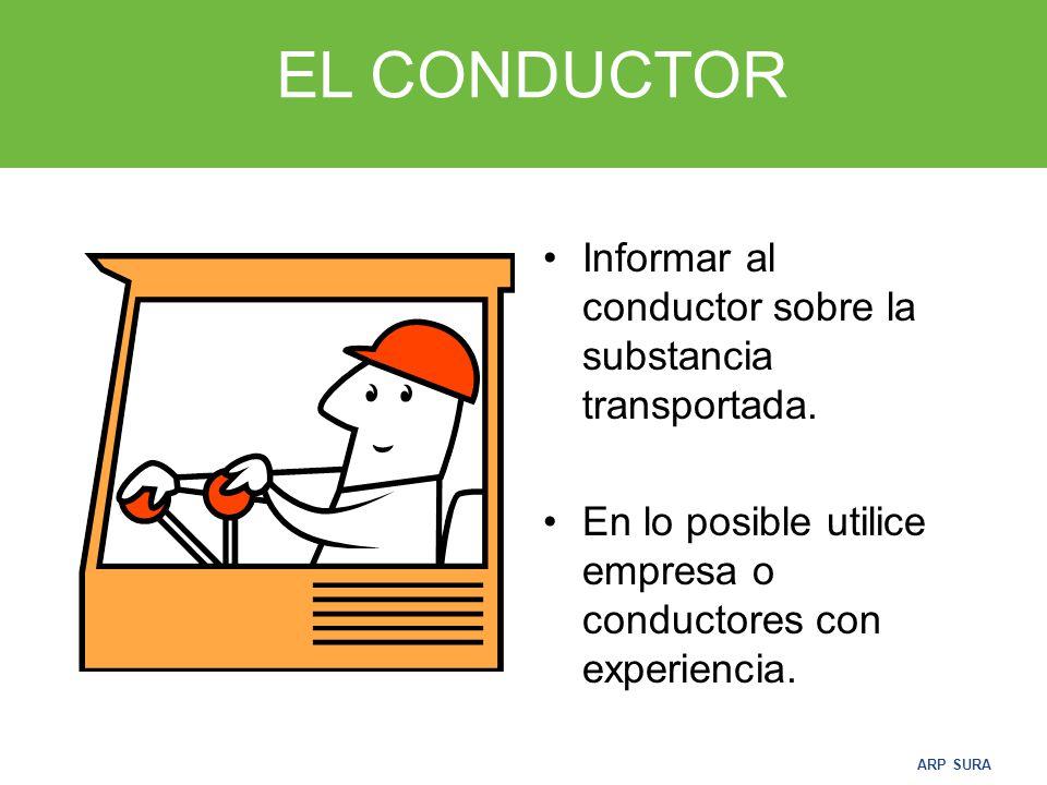 EL CONDUCTOR Informar al conductor sobre la substancia transportada.